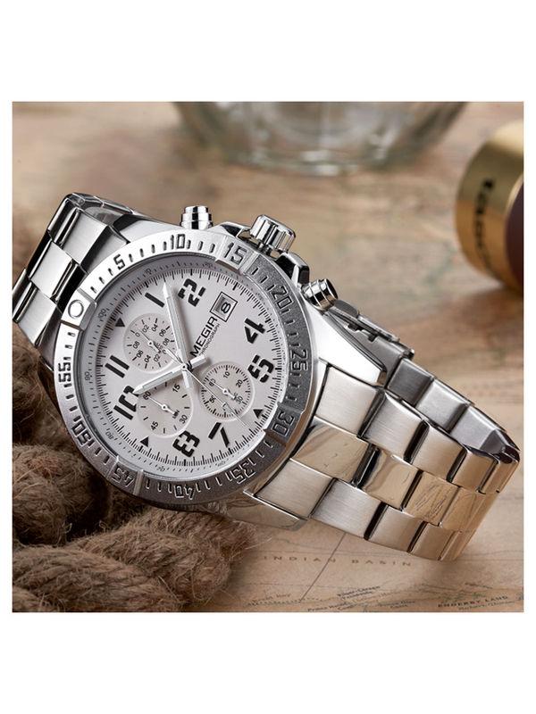 Megir-2030-Silver Analog Chronograph Watch For-Men