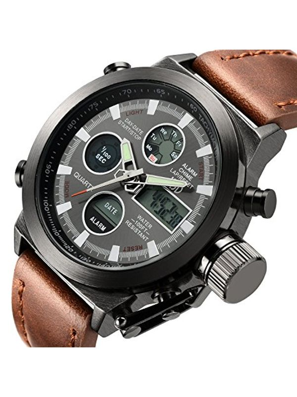 AMST-3003-Brown Analog-Digital Chronograph Watch For-Men