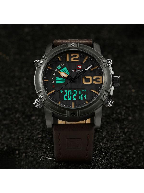 Naviforce-9095-C Brown Analog-digital Chronograph Watch for-men
