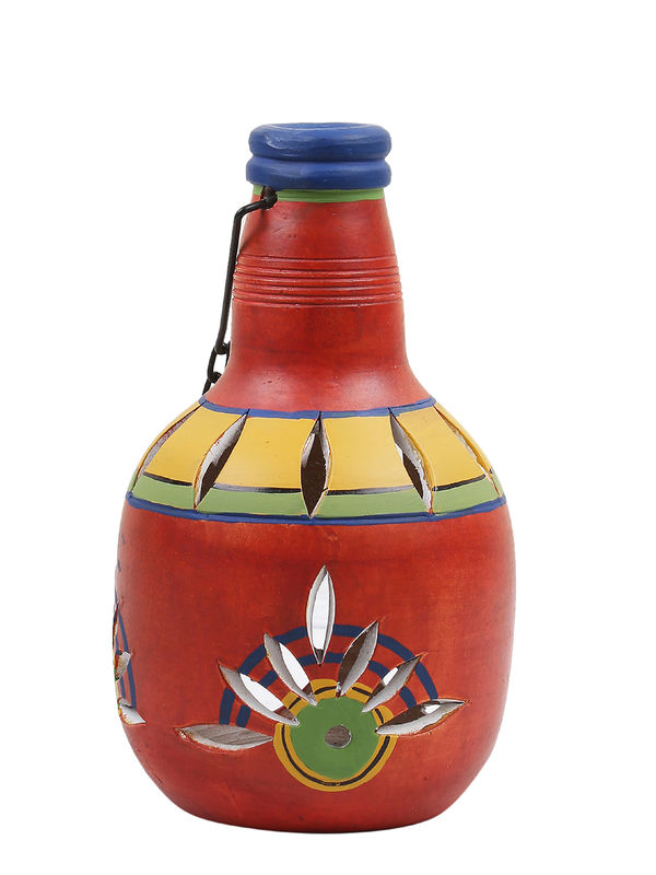 Red Terracotta Bottle Tea Light Diya Lantern Lamp With