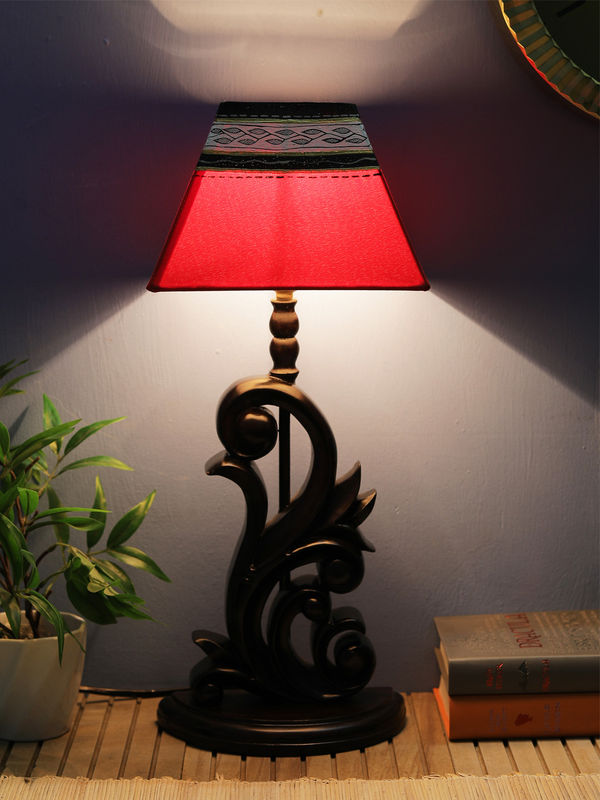 handpainted square red black warli lamp shade vacls005. Black Bedroom Furniture Sets. Home Design Ideas