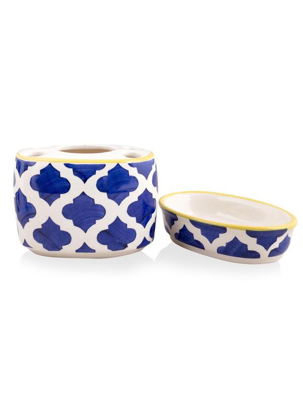 Blue Bathroom Set: Blue Ceramic 4 Piece Bathroom Accessories Set