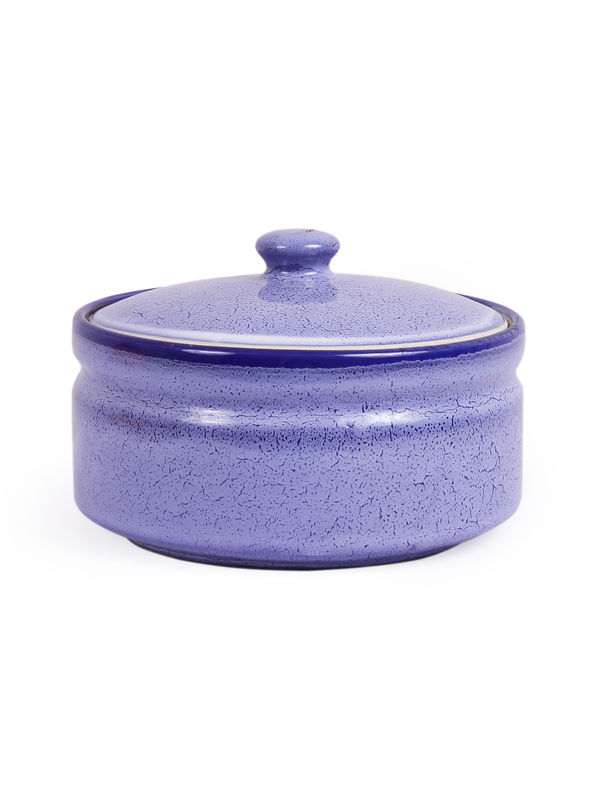 Blue Marble Stoneware Serving Bowls With Lid Set Of