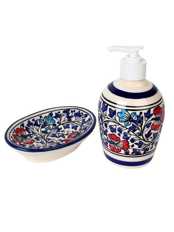 Hand Made Mughal Ceramic Bathroom Accessories Four Piece