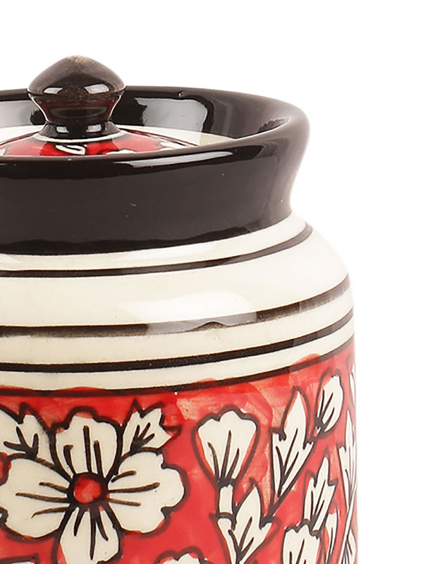 Hand Painted Mughal Red Ceramic Pickle Chutney Jars