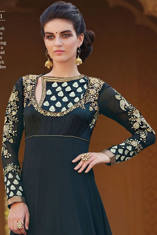 Long Black Heavy Yoke Anarkali Suit with Parsi Work