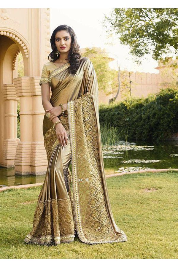 Golden Beige Color Wedding Saree with Cut Work