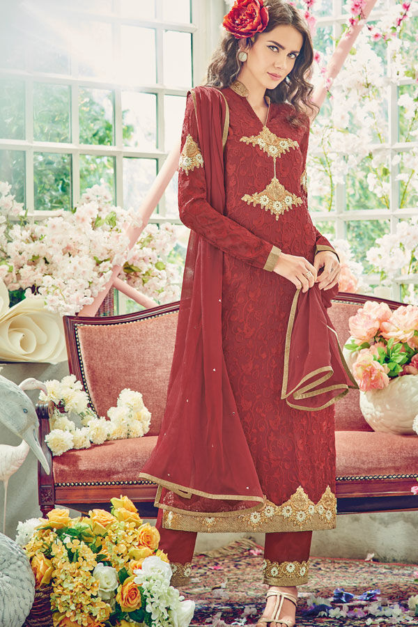 Maroon Color Georgette Partywear Straight Suit