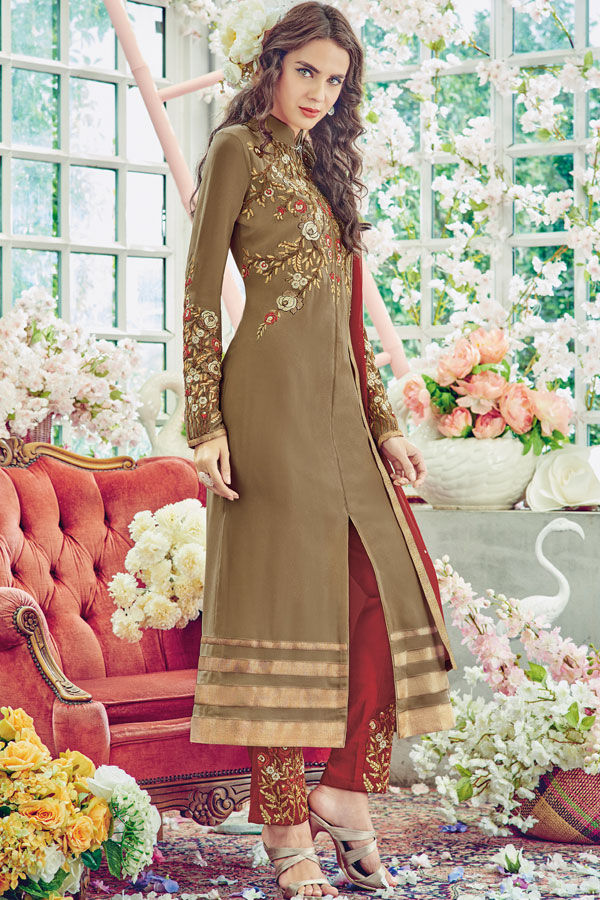 Beige Brown Color Georgette Partywear Straight Suit