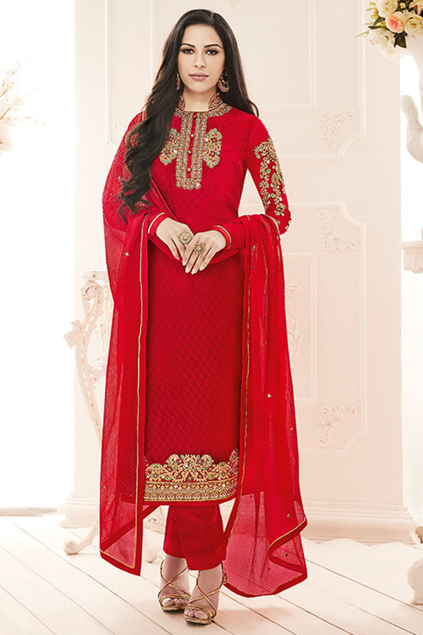 Red Partywear Straight Suit with Embroidery