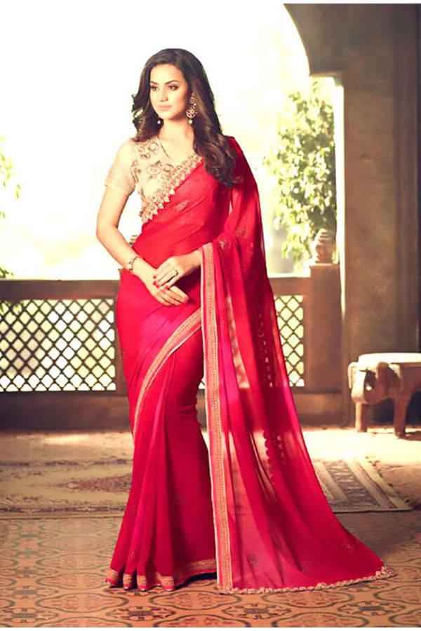 Party Wear Saree in Red Color with Designer Blouse