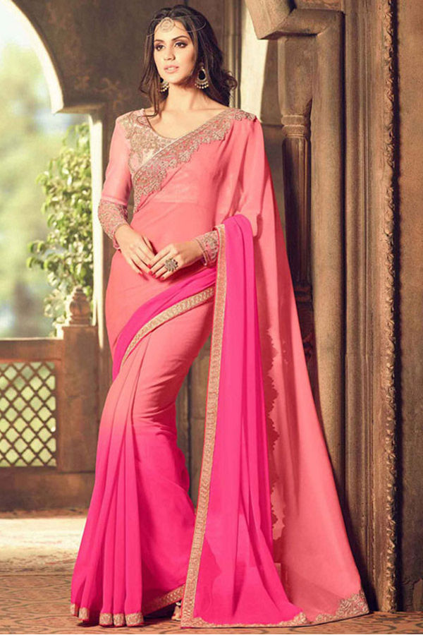 Party Wear Saree in Pink Color with Designer Blouse