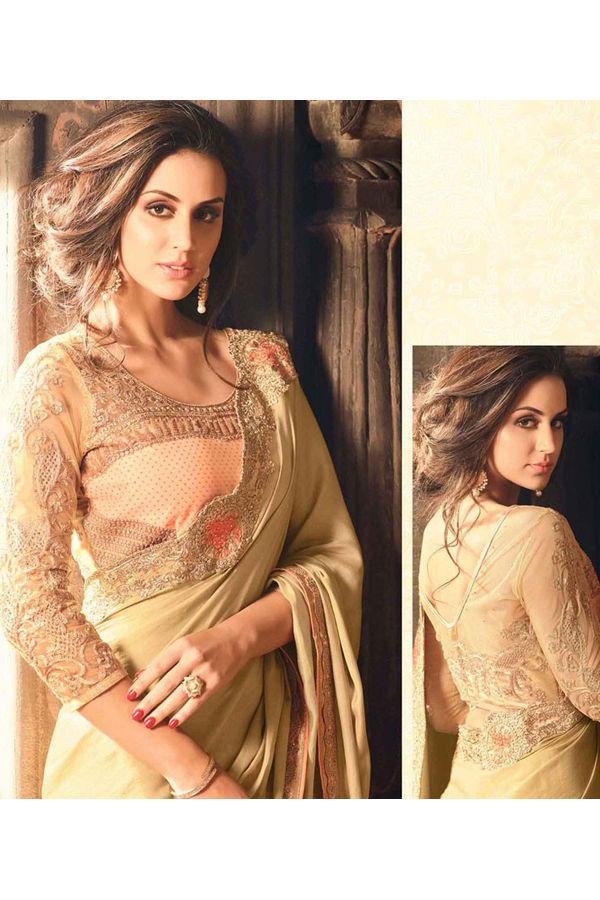 Party Wear Saree in Beige Color with Designer Blouse