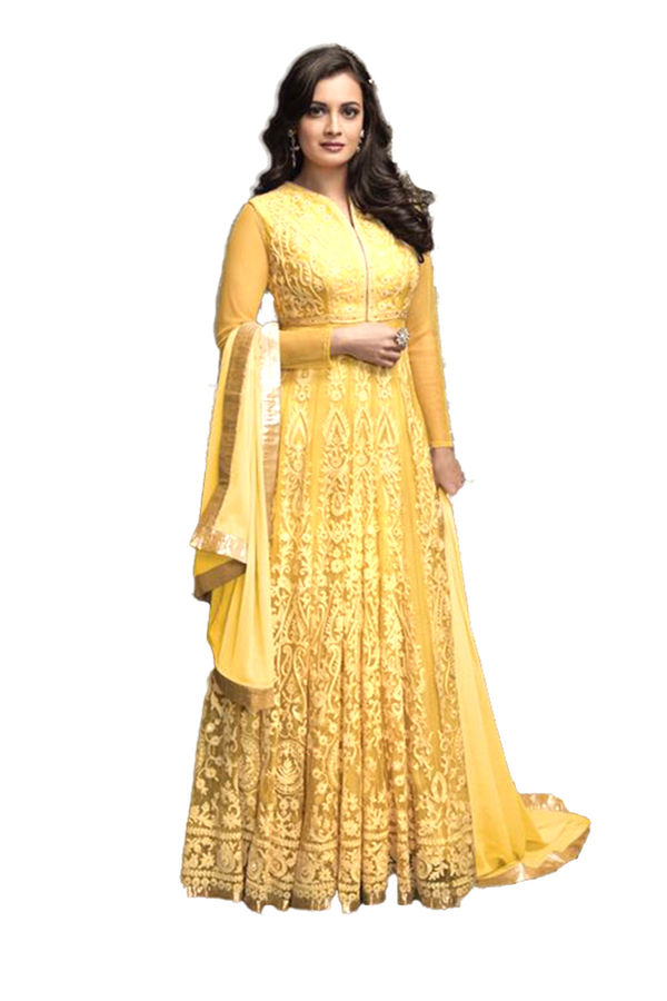 Diya Mirza in Yellow Color Georgette and Net  Anarkali Salwar Suit