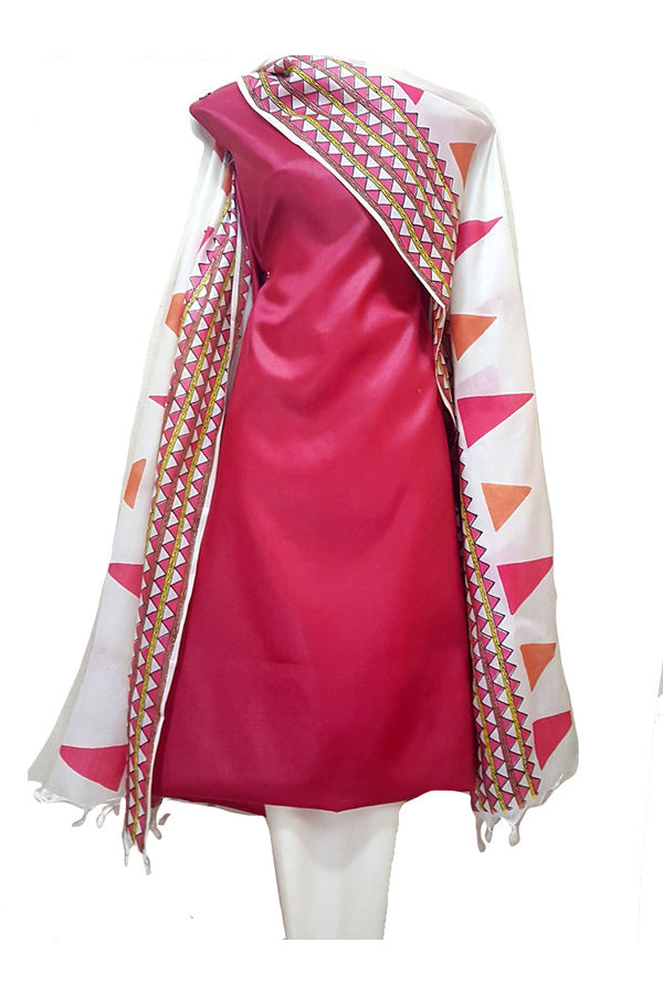 Red With Off White Tussar Silk Salwar Suit