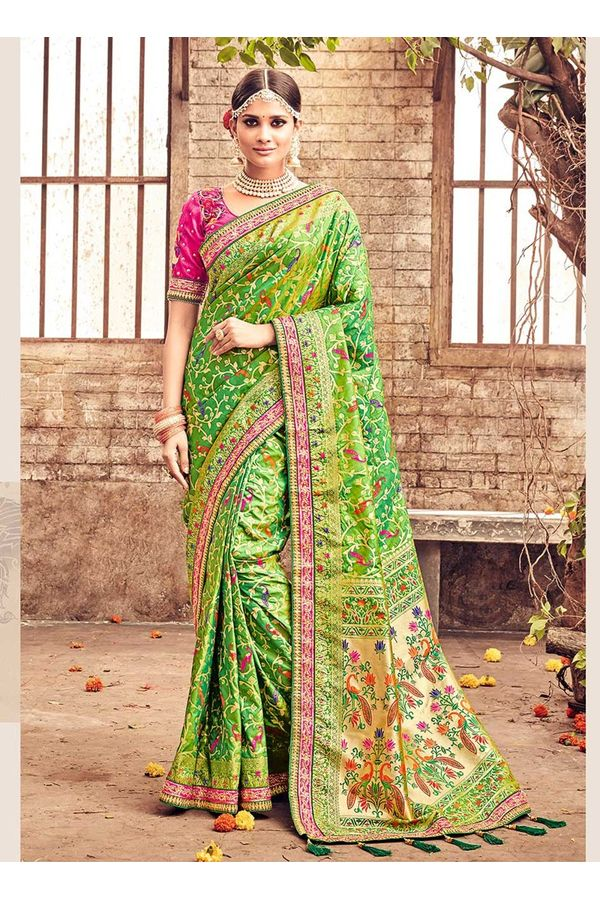 Banarasi Silk Saree with Meenakari weave in Green Color