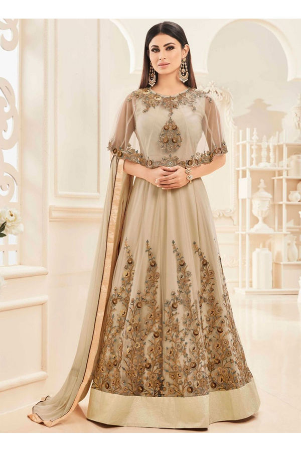 Mouni Roy Golden colour Net with Georgette Anarkali Suit