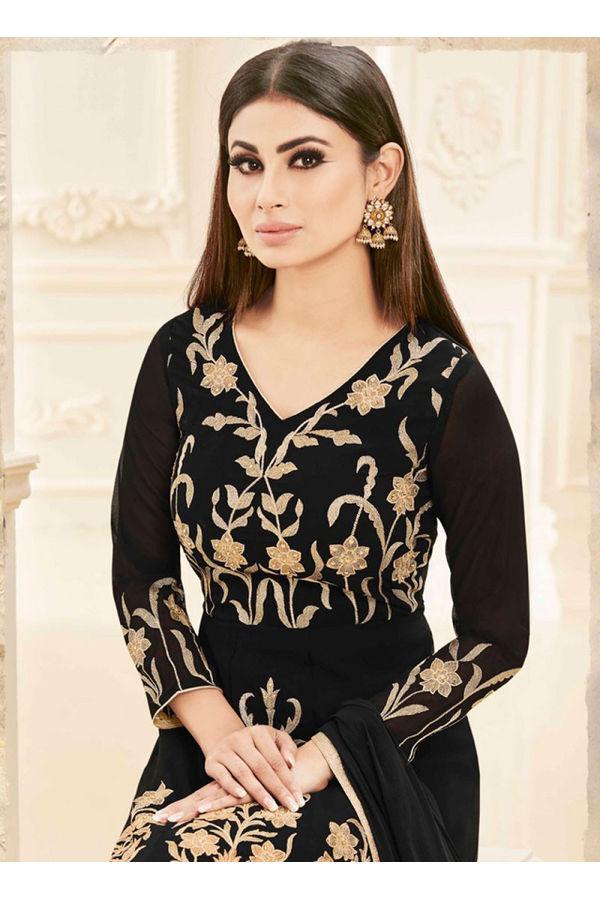 Black Color Designer Embroidered Georgette Anarkali suit