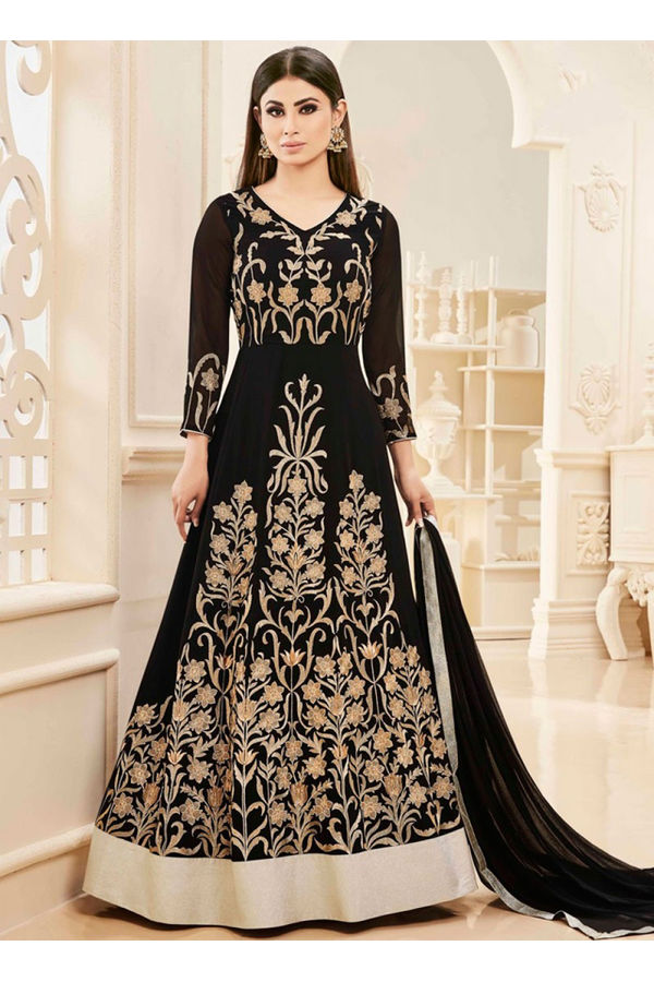 Black Color Designer Embroidered Georgette Anarkali suit