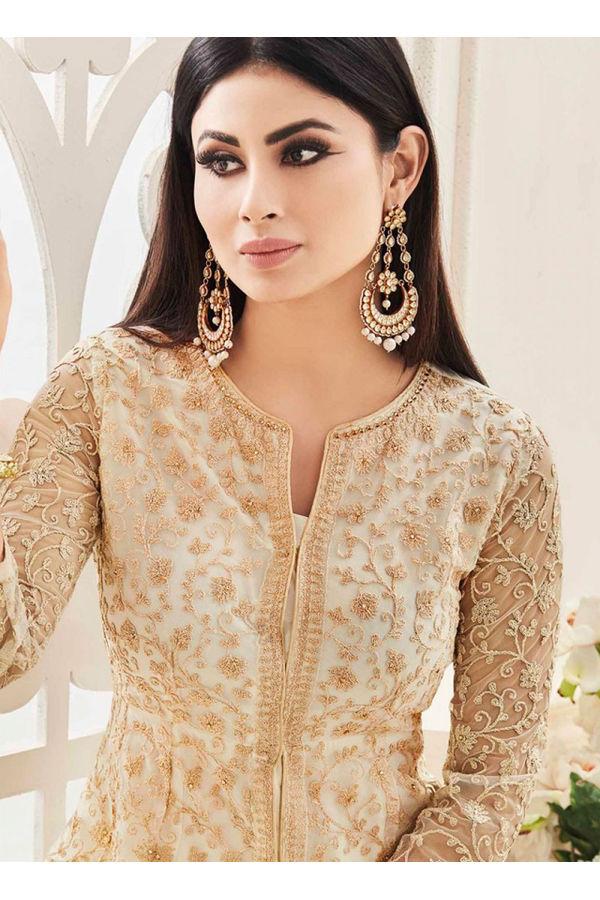 Mouni Roy Beige Color  Net with Georgette Anarkali Suit