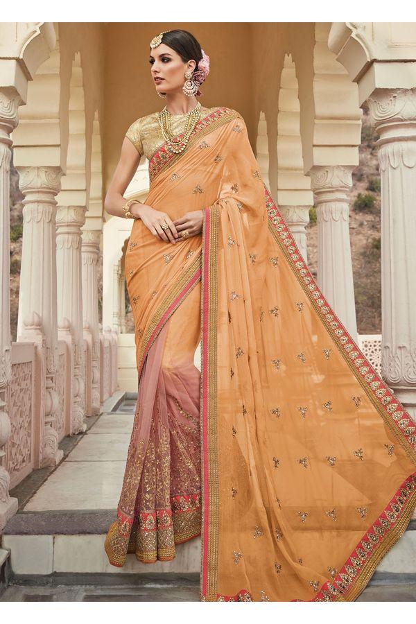 Orange and Peach  Party-wear Half-Half Designer Saree