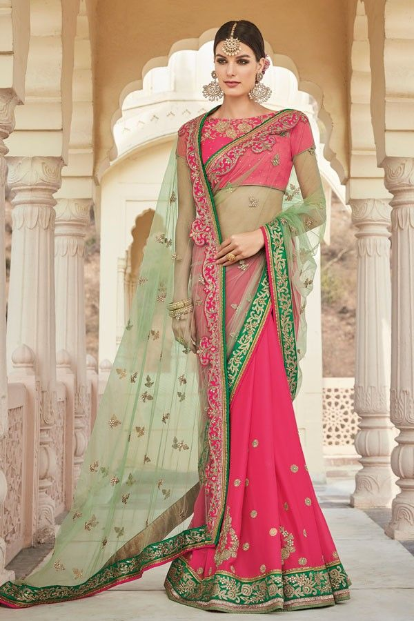 Coral Red and Green Party-wear Half-Half Designer Saree