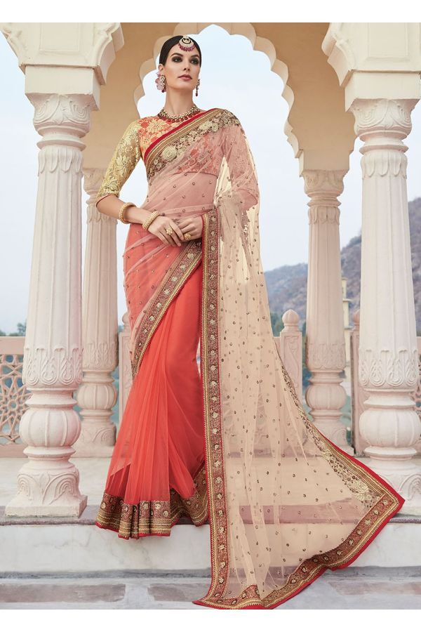 Coral Red and Cream Party-wear Half-Half Designer Saree