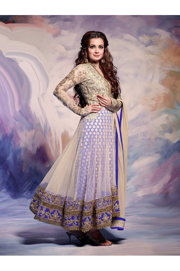 Dia Mirza Blue Cream with  Pure Silk and Net Anarkali suit