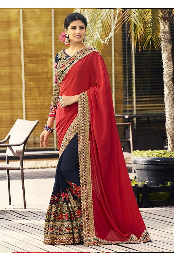 Blue and Red Heavily Embroidered Work Pure Georgette Saree