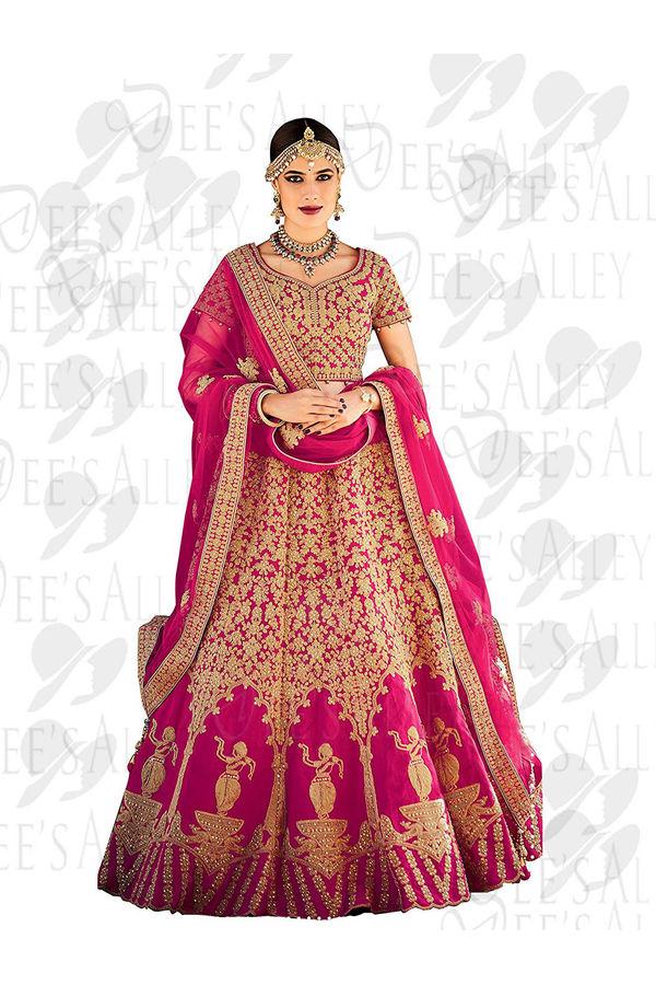 Magenta color silk Bridal Lehenga with Meenakari work