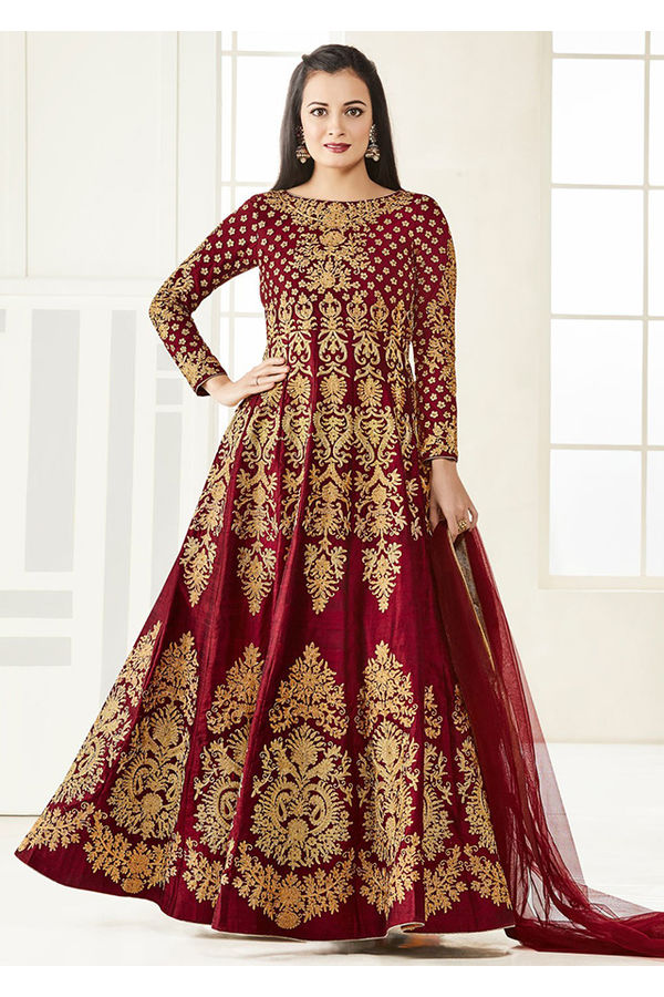 Diya Mirza in Maroon Color Zari Embroidered  Anarkali Salwar Suit
