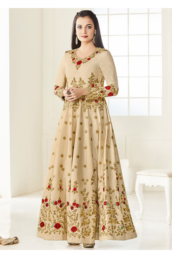 Diya Mirza in Cream Color Embroidered  Anarkali Salwar Suit