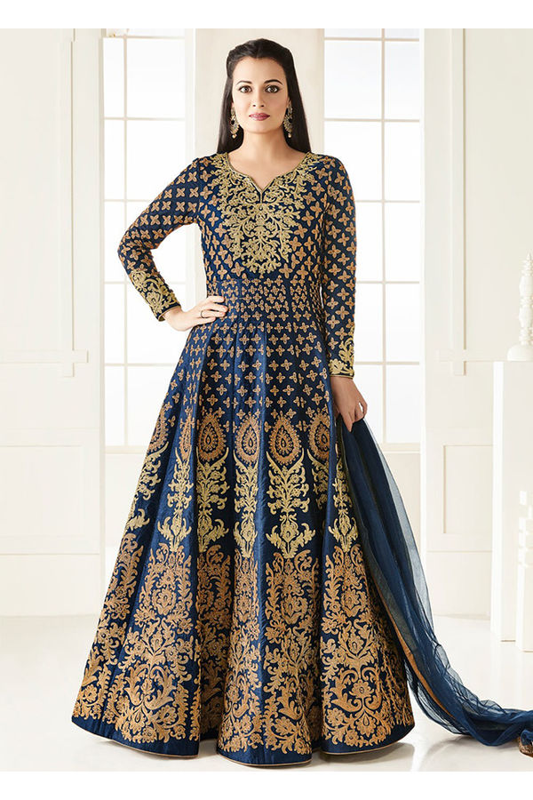 Diya Mirza in Navy Blue Zari Embroidered  Long Anarkali Salwar Suit
