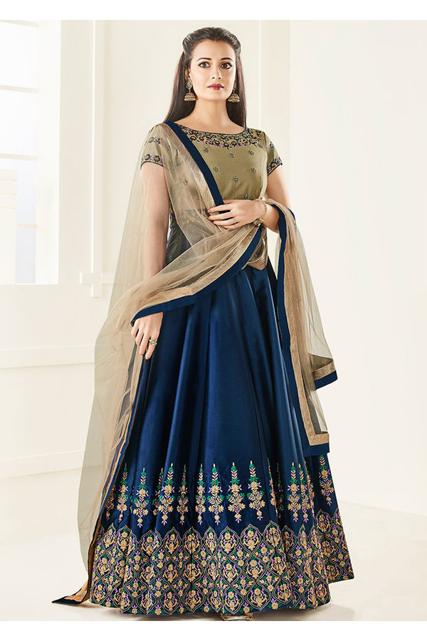 Diya Mirza in Navy Blue Embroidered  Long Anarkali Salwar Suit