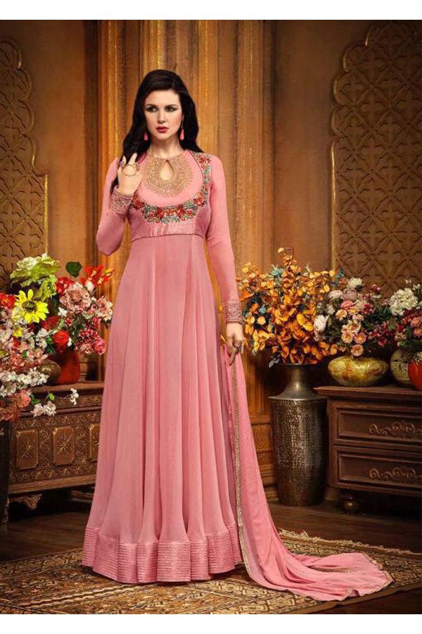 Pink Color Indowestern long Anarkali Gown Salwar Suit