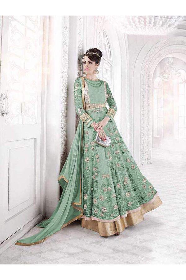 Green Long Designer Net  Wedding Anarkali