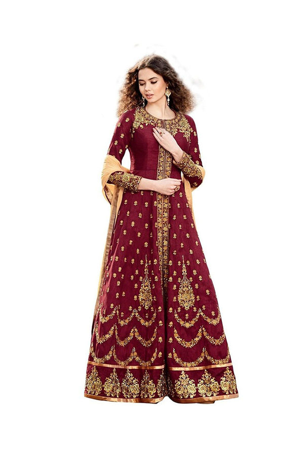 Maroon Long Anarkali Suit with Open Front Slit