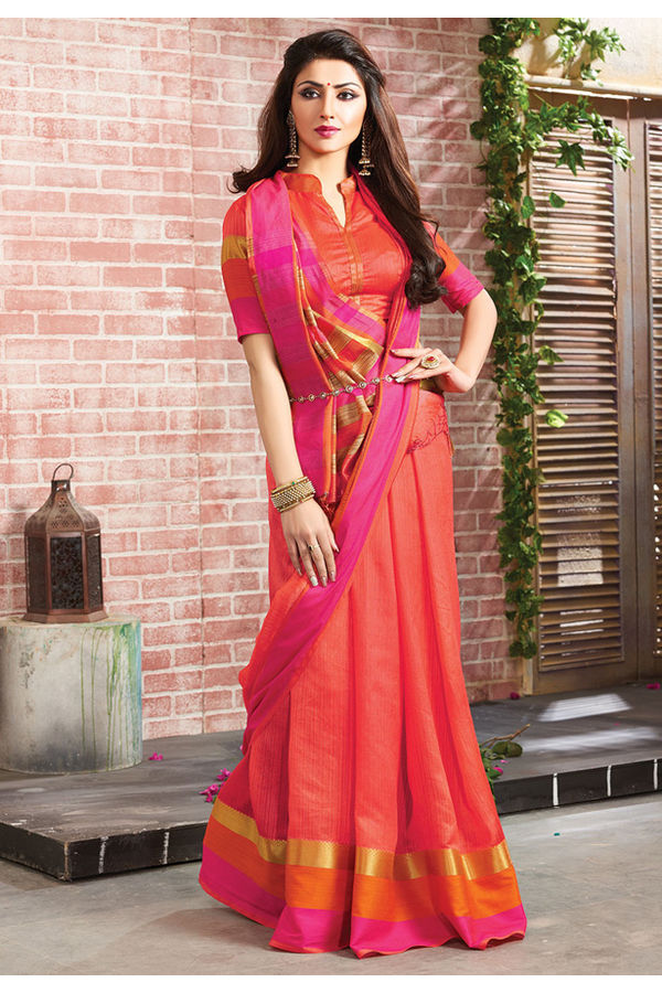 Woven Art Silk Saree in Red _754