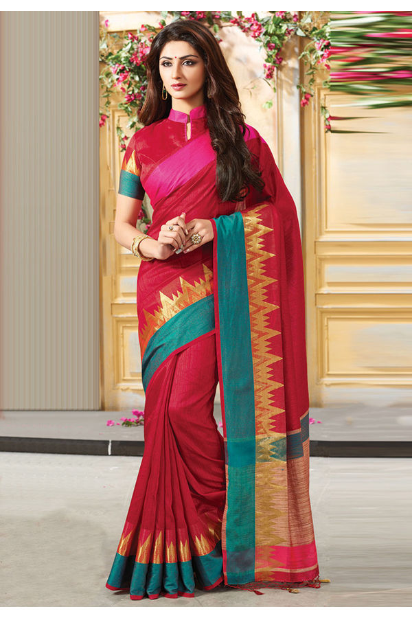Woven Art Silk Saree in Red _761