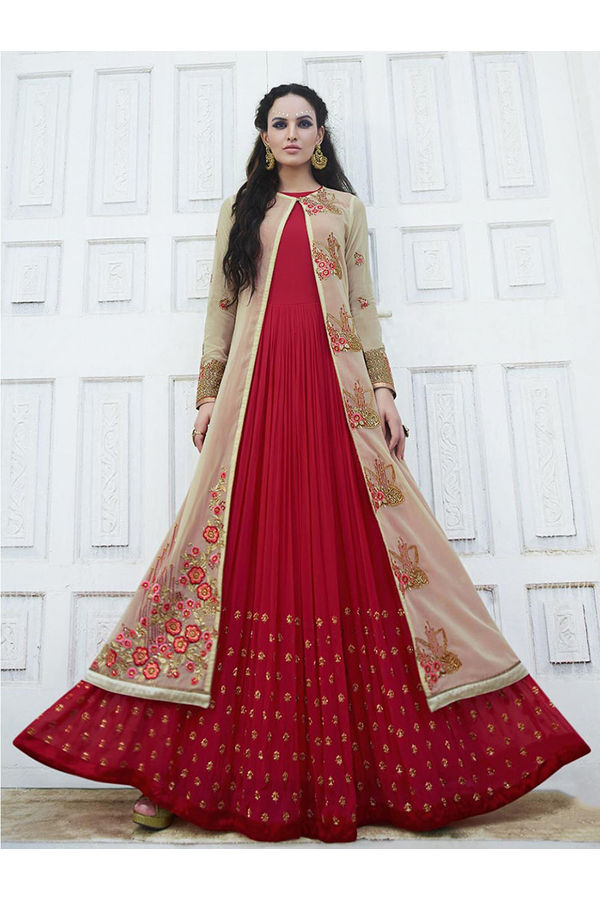 Red and Cream Long Anarkali Suit with Embroidery