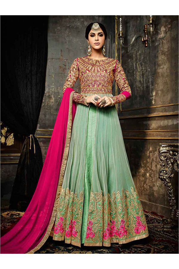 Pink and Green Long Anarkali Suit with Embroidery