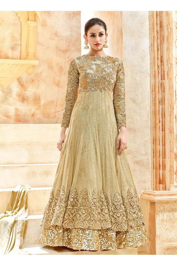 Beige Net Long Style Anarkali Suit Slscc7225 U