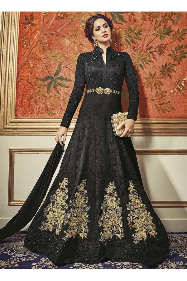 Black Art Silk Floor Length Anarkali Suit _VPL