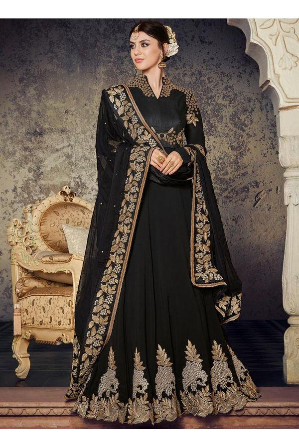 Black Embroidered Georgette Anarkali Full Sleeves 800x