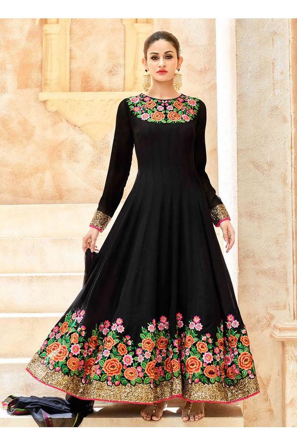 Black Georgette Long Style Anarkali Suit Slscc7223 U