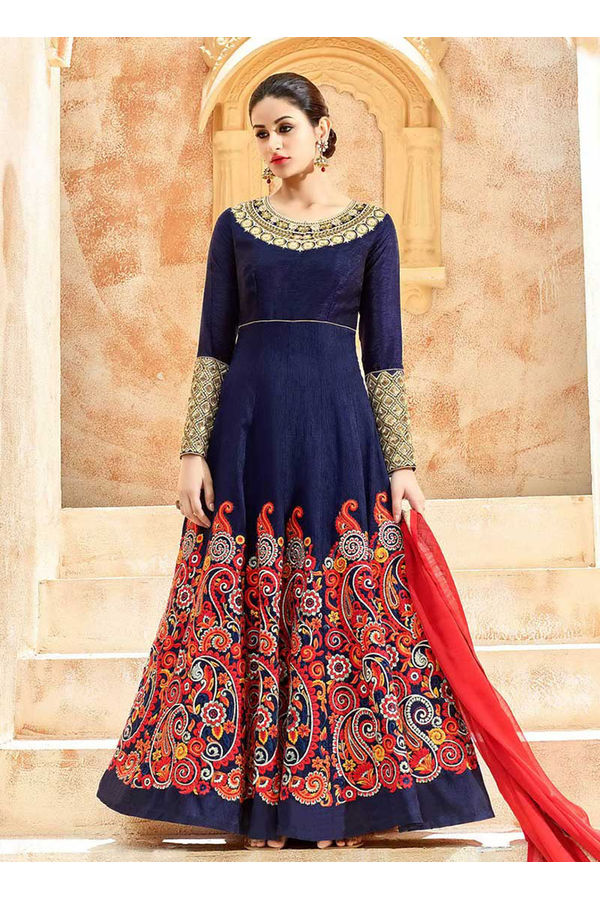 Blue Art Silk Long Style Anarkali Suit Slscc7224 U