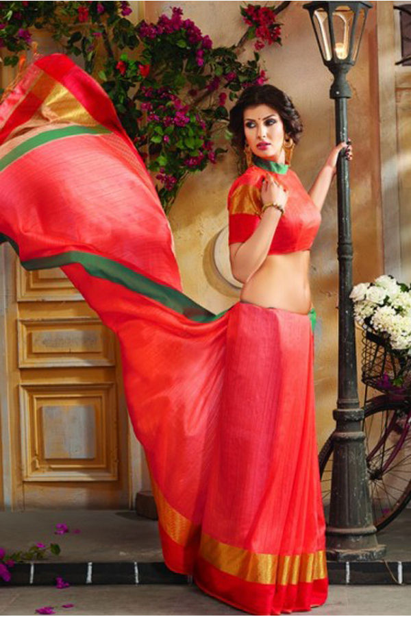 Woven Art Silk Saree in coral_red _753