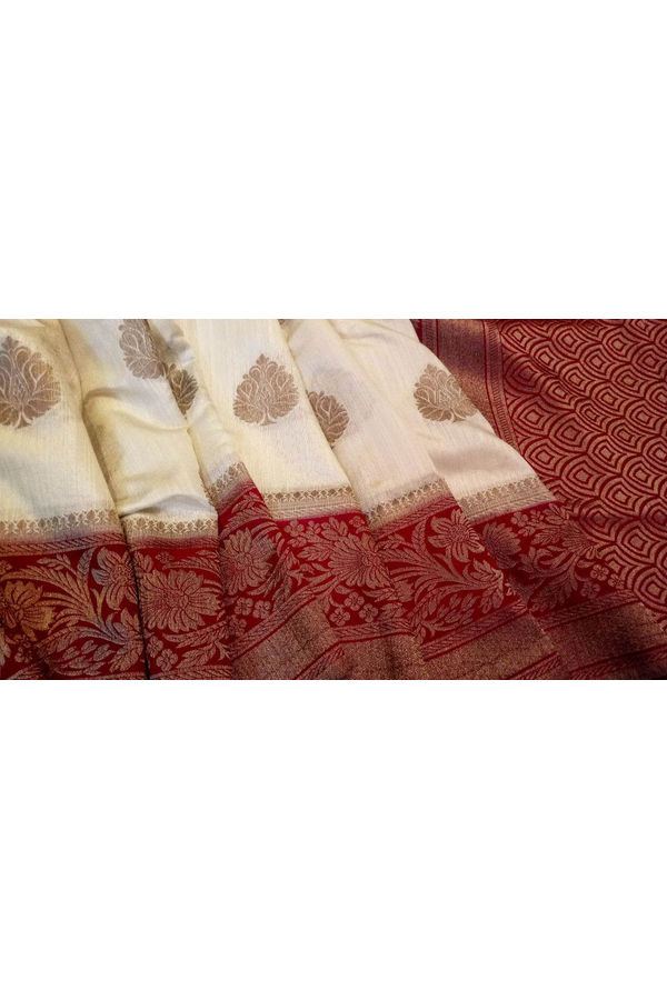 Off White Linen and Katan Silk Blend Saree with Contrast Blouse