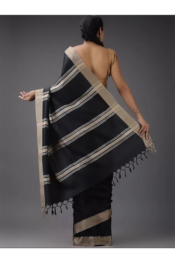 Dee's Alley  Black Color Pure Eri Silk Saree