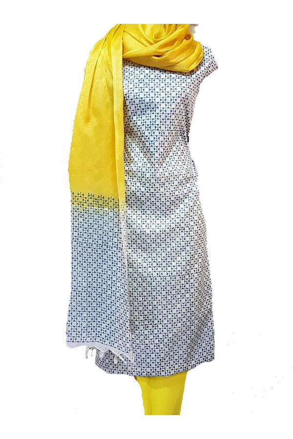 Block Printed Pure Tussar Silk Material in Yellow & Black